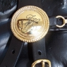 Monograms on a rosette, decorative leather pads, and gold-plated brass harness fittings